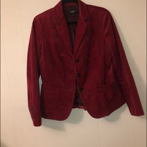 petite red corduroy jacket with buttons
